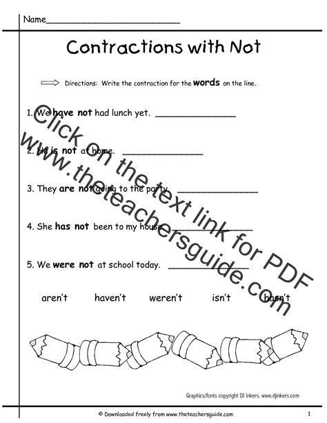 worksheets  teaching contractions st grade