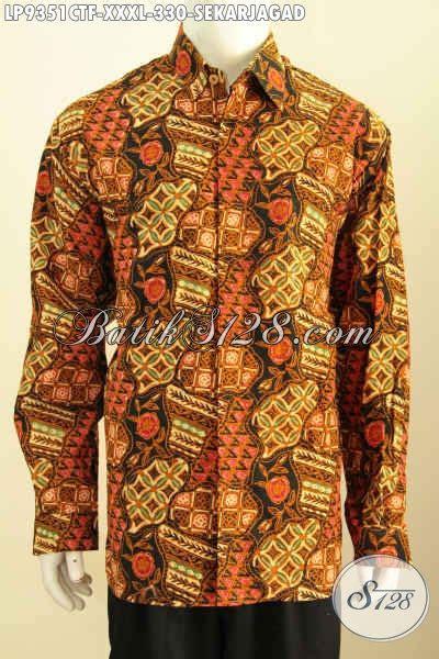 Hem Harris Semi Dan Furing hem batik jumbo sekarjagad baju batik pria gemuk furing lengan panjang kwalitas bagus