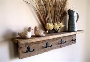 Wall hung coat rack shelf hat rack key rack towel rack rustic
