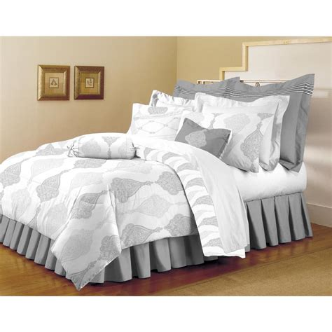full queen comforter sets home dynamix classic trends white light gray 5 piece full