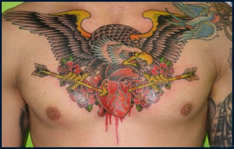 eagle tattoo heart 54 classy eagle bird tattoos on chest