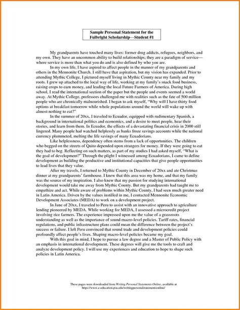 College Essay Exles Of A Personal Statement by Personal Statement College Template