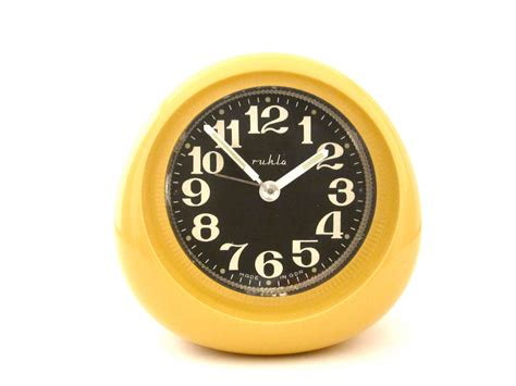amazing find vintage yellow orignal box ruhla alarm clock from