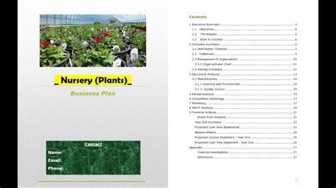 nursery business plan template plant nursery business plan template