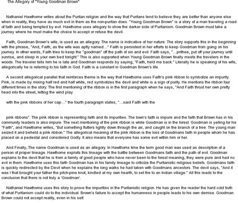 thesis statement for goodman brown allegory og goodman brown at essaypedia
