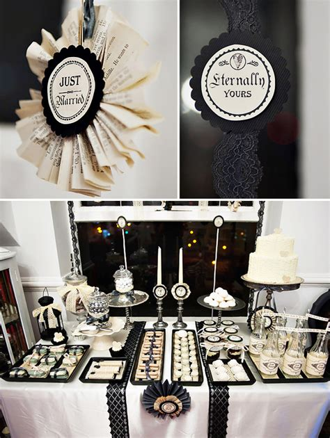 bridal shower decoration ideas black and white vintage wedding dessert table hostess with the mostess 174