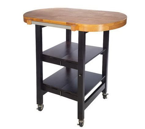 folding kitchen island cart folding island oval shape kitchen cart w butcher block style top qvc