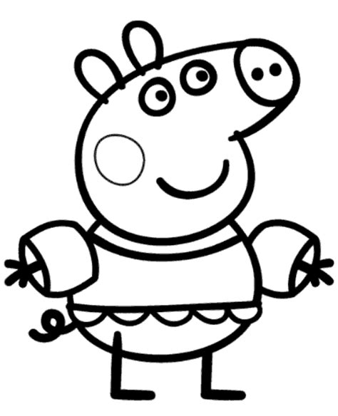 peppa pig swimming coloring page peppa colouring page 23 to print or download for free