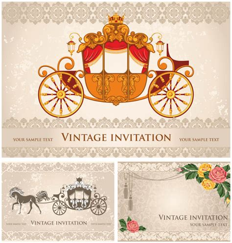 vintage wedding invitation templates vector vector