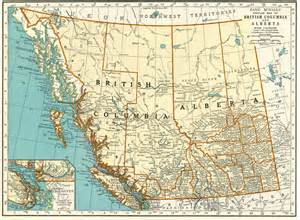 1937 vintage map of alberta and columbia canada