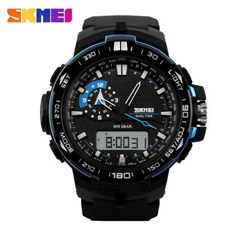 Jam Tangan Lelaki Sport skmei jam tangan sport pria ad1081 black blue jakartanotebook