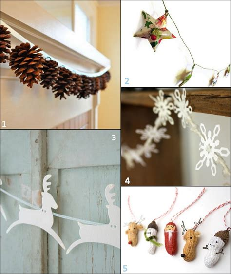 Handmade Home Decorations - paper and fabric garland ideas for the holidays