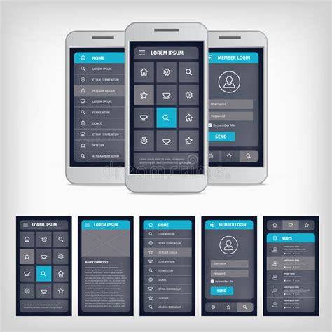 vector blue mobile user interface stock vector