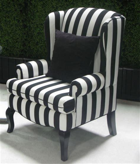 encore black white stripe wing back chair town