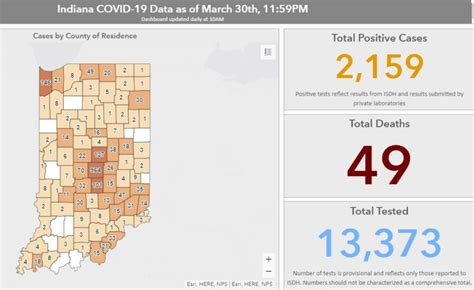 indiana    positive covid  cases  deaths