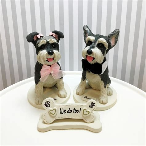 puppy cake topper 5 quot mini schnauzer cake toppers we do bone shaped sign with base and roses two