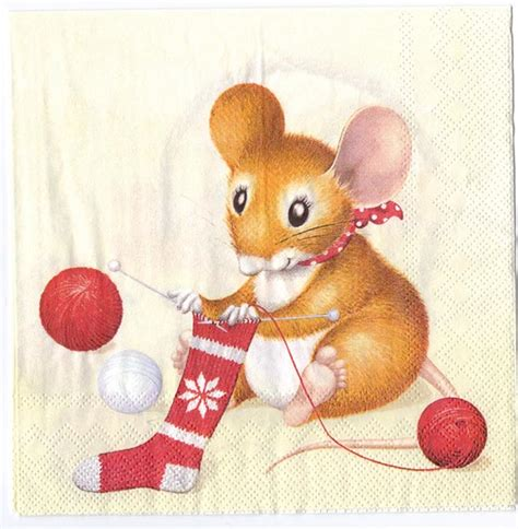 images of christmas mouse decoupage paper of christmas mice knitting napkin