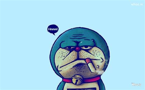 wallpaper doraemon merokok bad doraemon face with blue background hd wallpaper