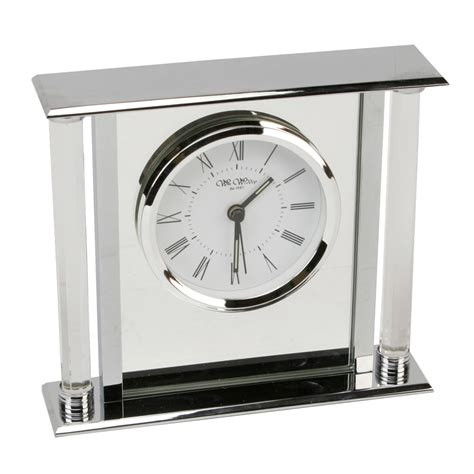 modern silver clock chrome silver colour mantel clock with mirror insert
