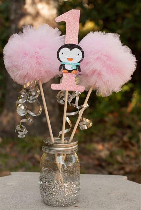 winter 1st birthday centerpieces winter onderland winter birthday penguin centerpiece table