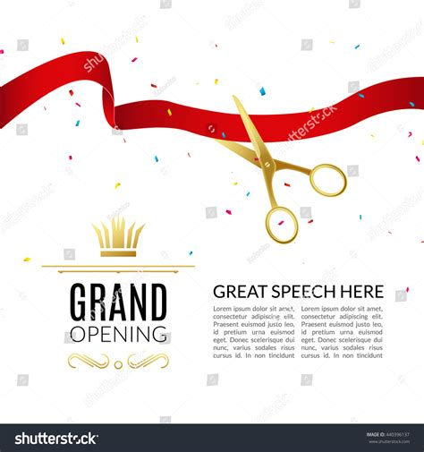 Grand Opening Speech Sle grand opening design template with ribbon and scissors
