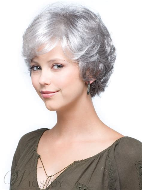 salt and pepper wigs for mature women salt and pepper short natural wave capless synthetic wigs