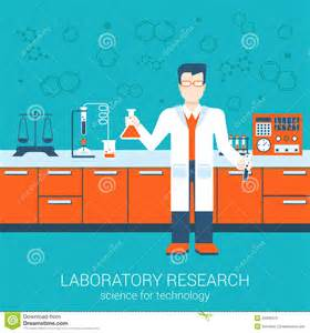 Chemistry Lab Bench Flat Style Vector Illustration Laboratory Infographics
