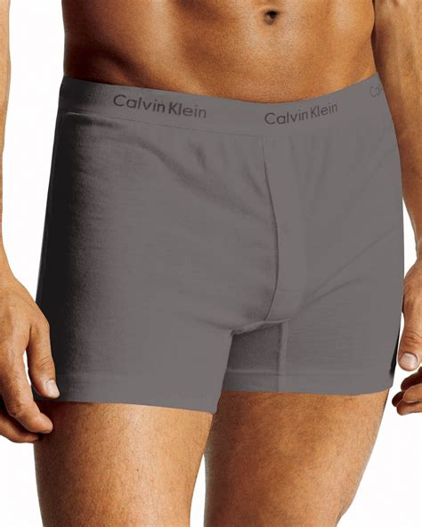 calvin klein knit boxers calvin klein slim fit knit cotton boxers in gray for
