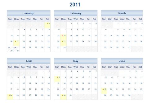 2011 yearly calendar printable one page search results