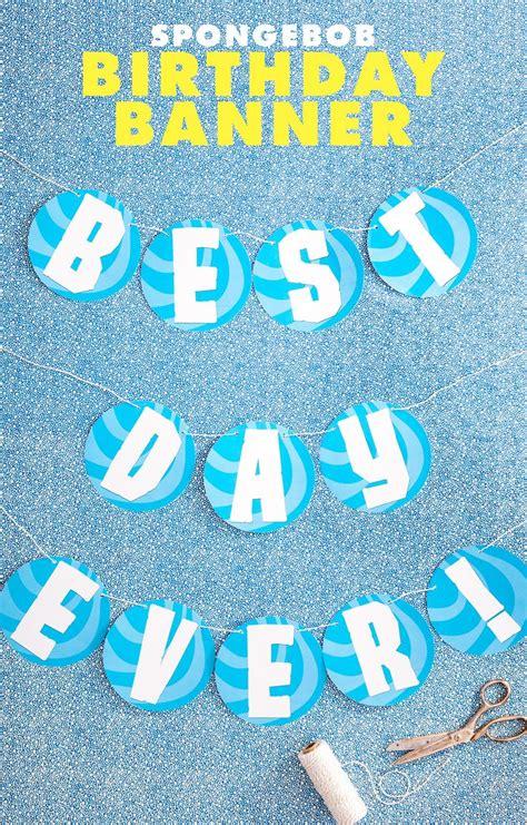 free printable spongebob happy birthday banner 40 best images about spongebob diy kids birthday party on
