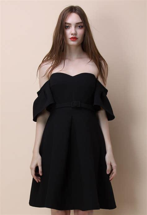 classy glitz  shoulder dress  black retro indie