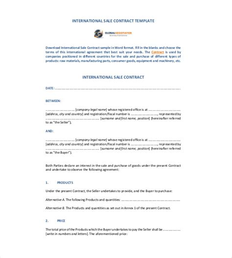 international sales agreement template contract template 24 free word excel pdf documents