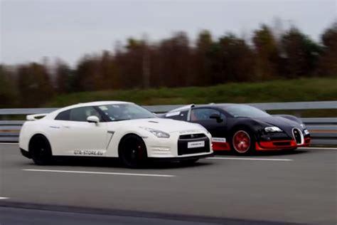 nissan skyline gtr vs bugatti 1200 hp nissan gt r vs 1200 hp bugatti veyron