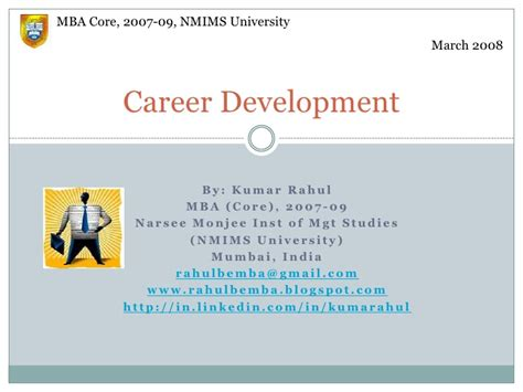 Human Resource Development Notes For Mba Ppt by Career Development In Hrm By Kumar Rahul
