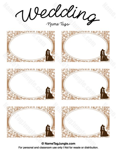Free Printable Wedding Name Tags The Template Can Also Be Used For Creating Items Like Labels Wedding Tags Template
