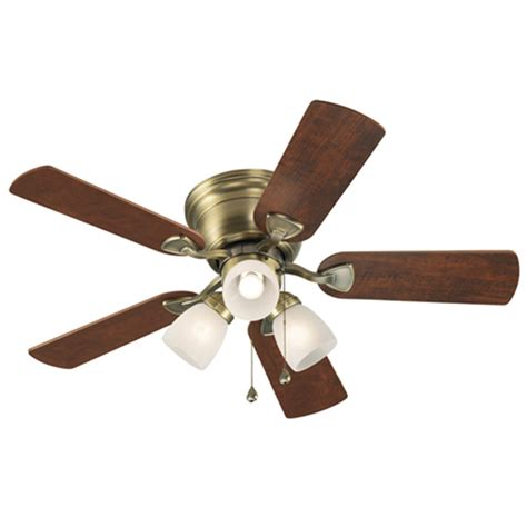 Brass Ceiling Fan With Light Shop Harbor Centreville 42 In Antique Brass Indoor Flush Mount Ceiling Fan With Light Kit