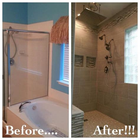 Bathroom Shower Door Ideas Bathroom Remodel Removed Garden Tub To Make Room For A Walk In Shower Without A Door