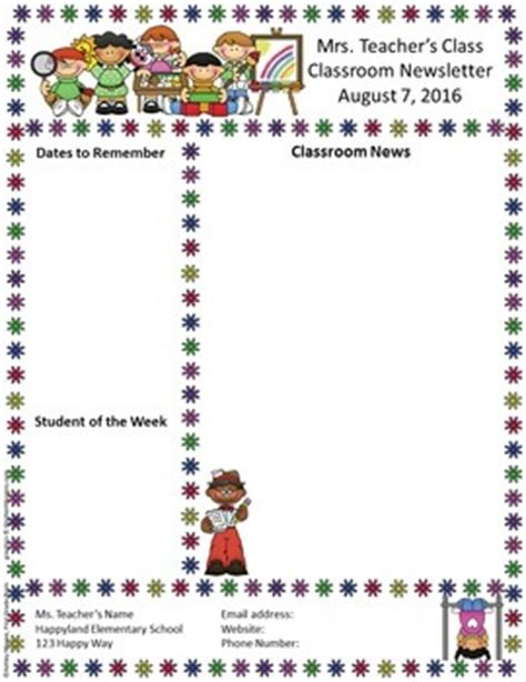 Free Editable Teacher Newsletter Template By Mrs Magee Tpt Printable Newsletter Templates For Teachers