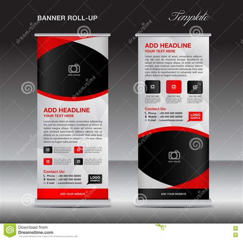 Red Roll Up Banner Stand Template Stand Design Banner Design Stock Vector Image 77274821 Pull Up Banner Design Template
