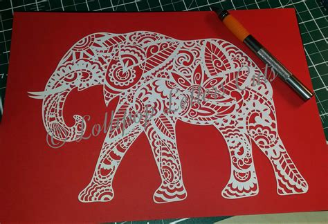 brown pattern cutting paper paisley elephant diy paper cut template commercial use