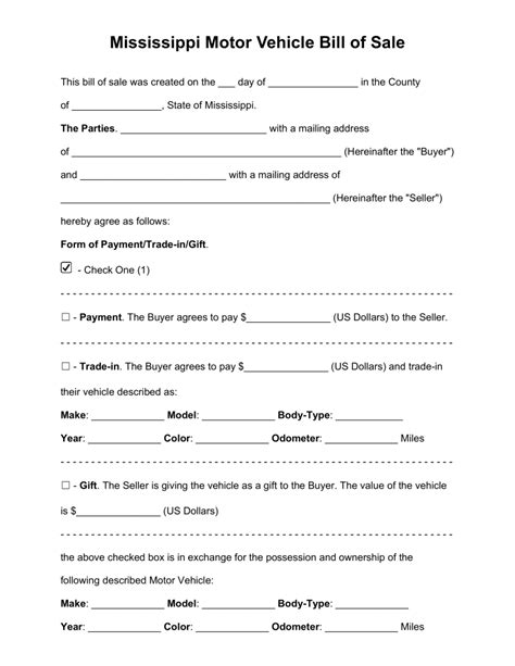 ms wildlife and fisheries boat registration free mississippi bill of sale forms pdf word eforms