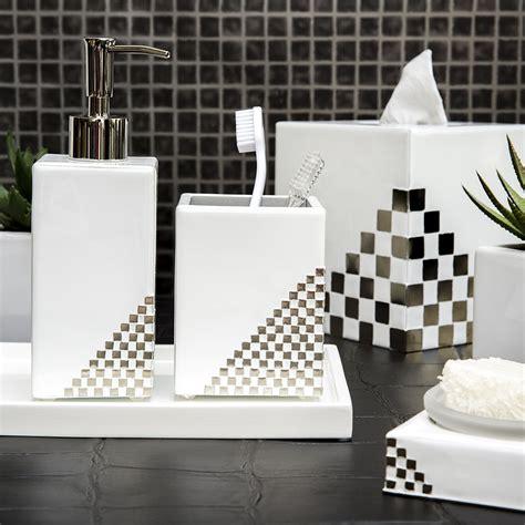 White And Silver Bathroom Accessories Buy Mike Ally Matrix Soap Dish White Silver Amara