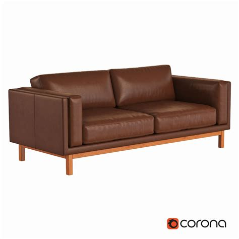 west elm leather sofa west elm dekalb leather sofa 3d model max obj fbx