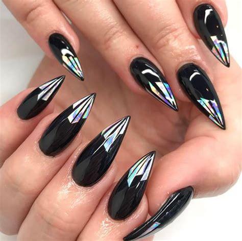 cute stiletto nail designs black with holo tips stiletto nails http hubz info 58