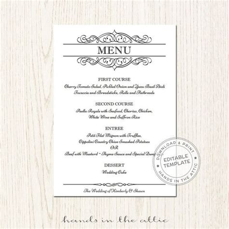 Formal Menu Card Template by Wedding Menu Template Editable Wedding Menu Card