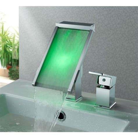 lighted bathroom faucets deck mount waterfall square led bathroom sink faucets with