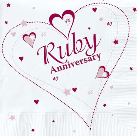 Ruby Anniversary Napkins in packs of 18   Party Wizard