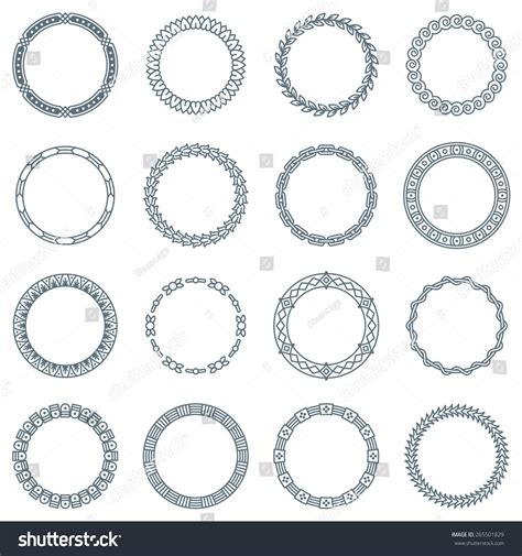 the images collection of vector round label victorian round vintage collection 16 round decorative frames labels stock vector