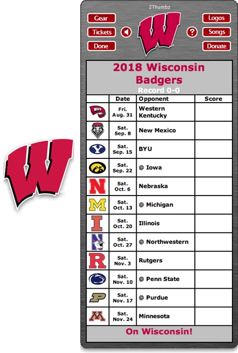 Wisconsin Badgers Football Schedule 2018 Printable