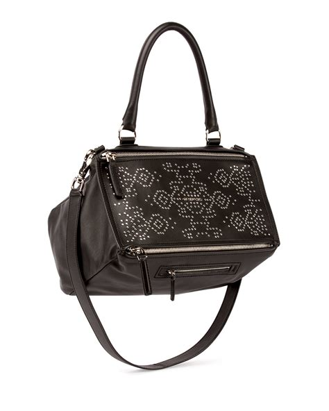 black pattern handbags givenchy pandora carpet pattern studded shoulder bag in